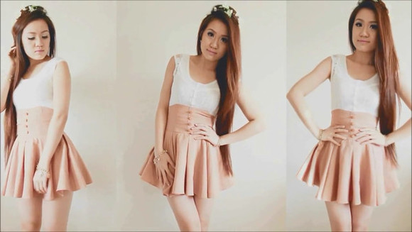 buttons skirt high waisted skirt peachy