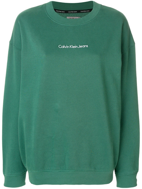 Ck Jeans sweatshirt women cotton green sweater