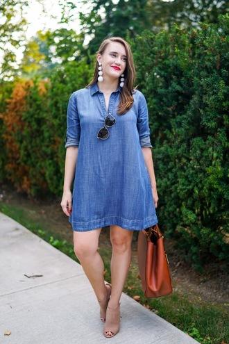 covering bases curvy blogger dress shoes sunglasses bag jewels denim dress statement earrings mini dress