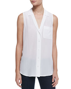 S/L KEIRA BUTTON UP TOP, WHT