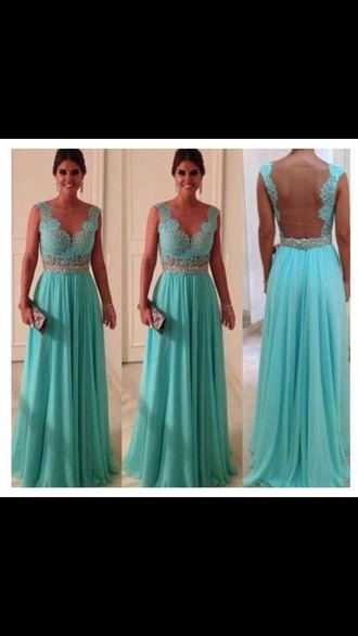 lace dress teal dress blue dress long prom dress open back prom dress