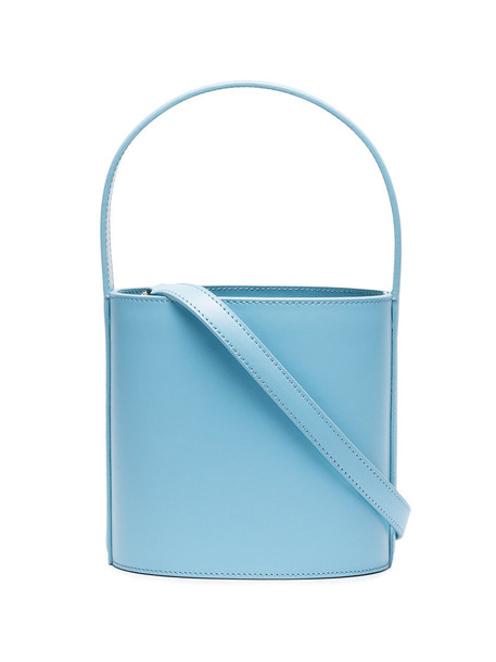 women bag bucket bag leather blue
