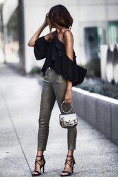 fashionedchic,blogger,shirt,pants,shoes,bag,black blouse,blouse,sandals,high heel sandals,spring outfits