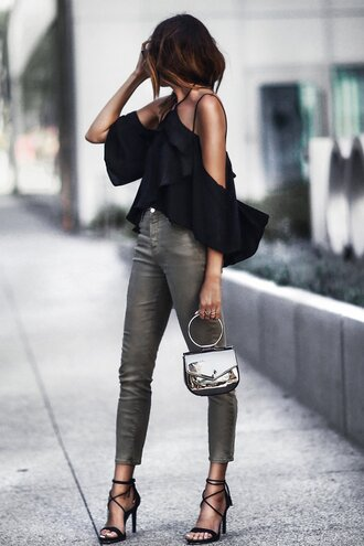 fashionedchic blogger shirt pants shoes bag black blouse blouse sandals high heel sandals spring outfits