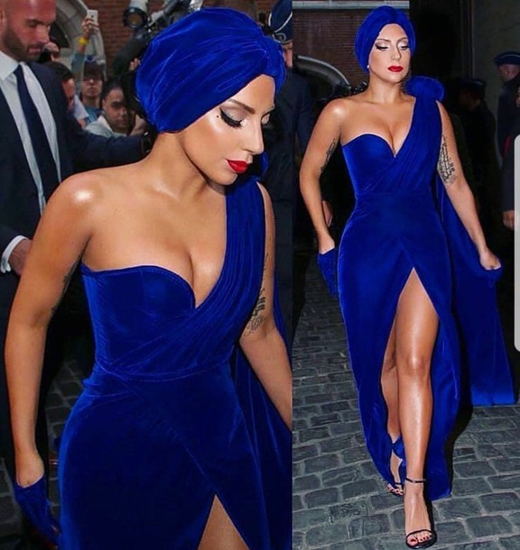 8ef101bfa95 dress blue velvet dress lady gaga lady gaga dress evening dress long  evening dress long dress
