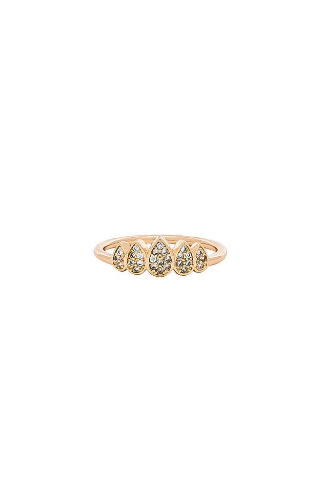 Melanie Auld Teardrop Crown Ring in gold / metallic