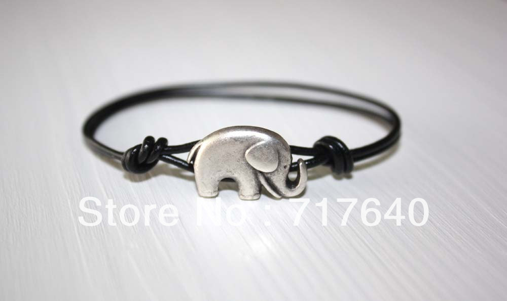 Free shipping!6pcs/lot! Antique Silver Genuine Leather Cord Elephant Bracelet Charm Fashion Costume Jewelry 14 Colors Available-in Charm Bracelets from Jewelry on Aliexpress.com