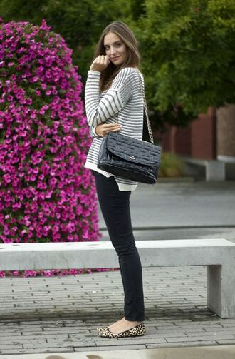 shoes leopard printed ballerinas ballet flats flats leopard print animal print black jeans jeans top striped top stripes long sleeves striped sweater bag black bag shoulder bag fall outfits
