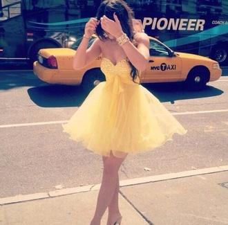 dress yellow girly cute summer spring yellow dress