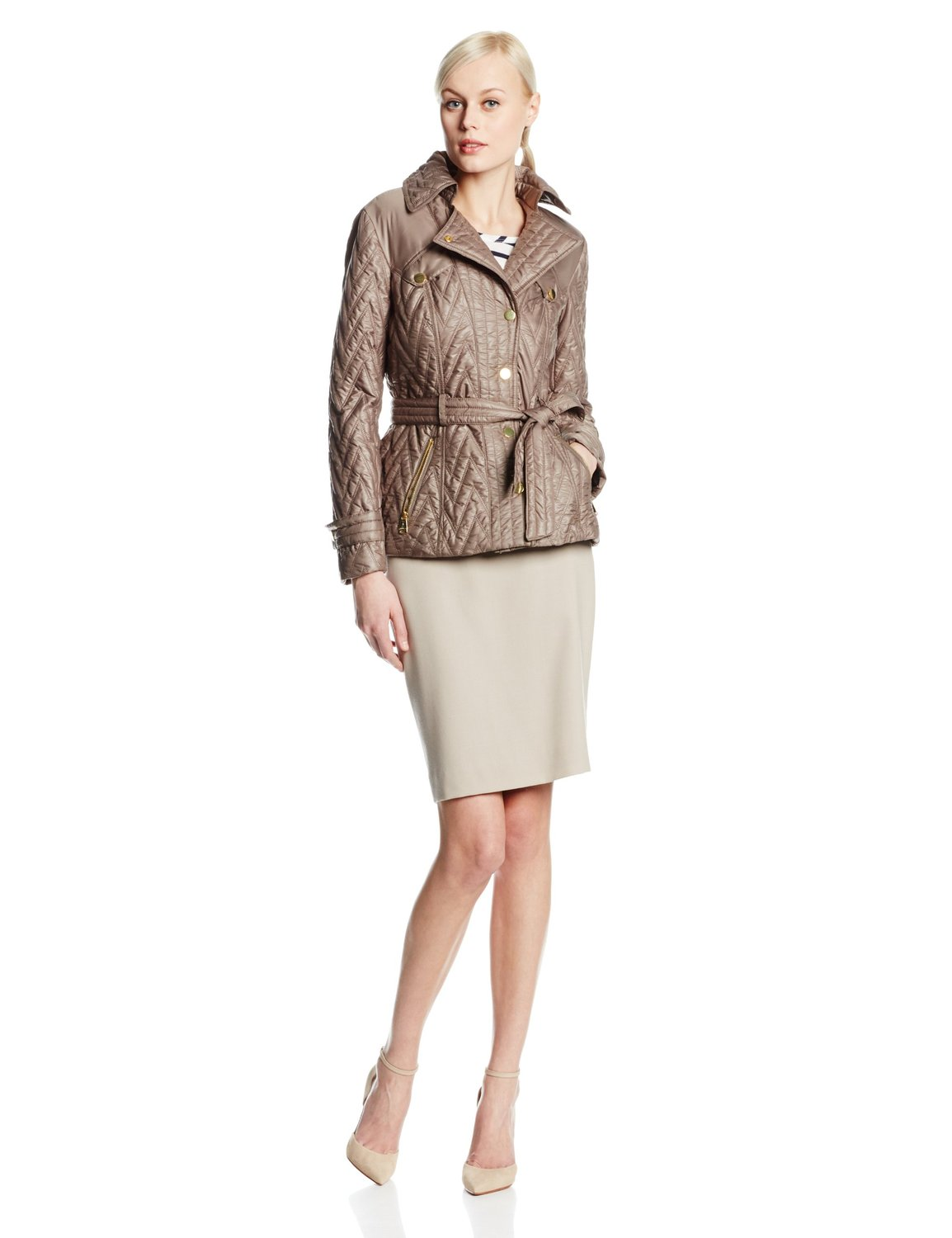 Front chevron quilted jacket with belt at amazon women's coats shop