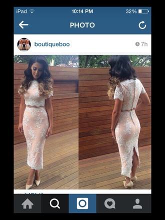 dress nude dress white lace dress two piece dress set