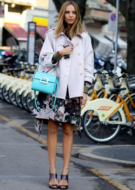 dress work outfits floral dress office dress office outfits jacket white jacket bag blue bag handbag sandals sandal heels high heel sandals spring outfits streetstyle