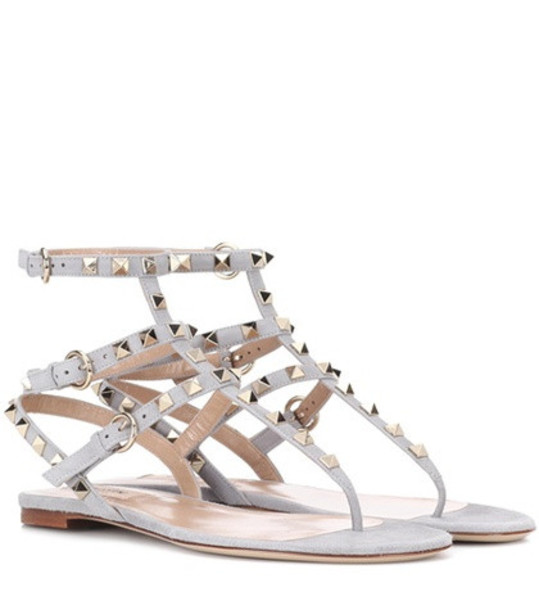 Valentino Garavani Rockstud suede sandals in grey