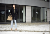 shiny sil,blogger,pea coat,light blue,skinny pants,michael kors bag,sweater,pants,jacket,jewels,socks,bag,make-up