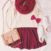 bag,coldweather,cool,girly,scarf,sweater,skirt