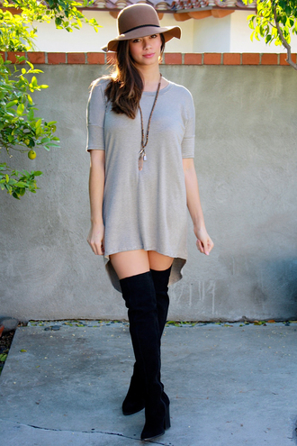 dress tunic dress style striped dress cute girly fashion boots hat necklace high low dress short dress summer dress spring dress summer summer outfits spring break spring outfits lookbook girl pretty tan dress shoes tunic