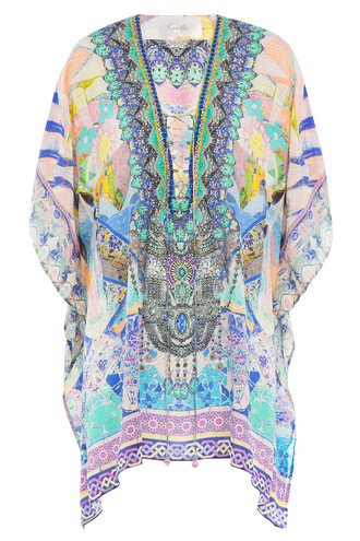 tunic embellished silk multicolor top