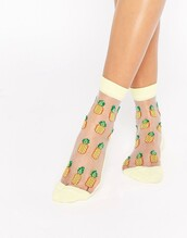socks,cute socks,mesh socks,sheer,pineapple print,pineapple,fruits