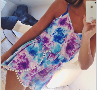 dress colorful gorgeous romper floral romper floral flowers blue purple pom poms jumpsuit