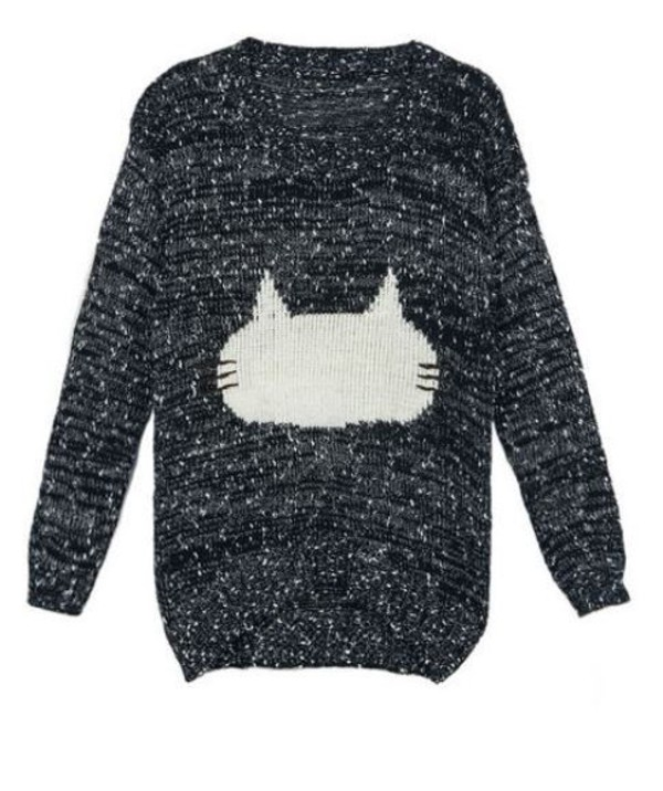 black sweater black and white sweater fuzzy sweater cat sweater one size sweater www.ustrendy.com