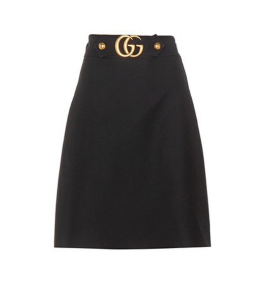 gucci skirt silk wool black