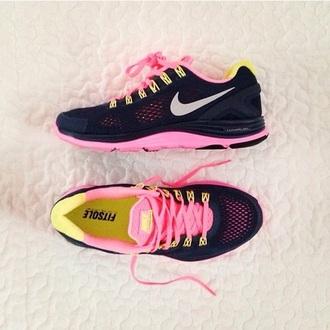 shoes nike nikefitsol black pink yellow love need fitsole