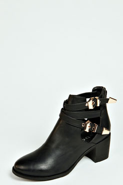 Zeta Zip Back Buckle Cut Out Boot at boohoo.com