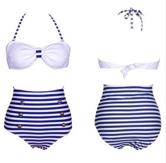 Cute high waist  black dot bikini / wantde