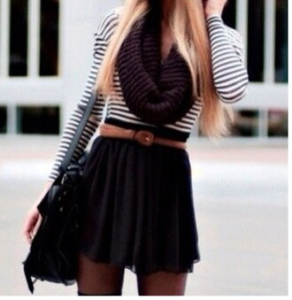 skirt scarf striped shirt waist belt messenger bag shirt stripped shirt black and white maroon scarf knitted scarf blouse