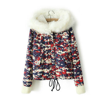 coat colorful warm hood peter pan collar