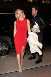 dress,slit dress,red dress,hilary duff,sandals,red,midi dress,zipper dress,zip