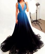 dress,ana radu,blue dress,ombre,prom dress