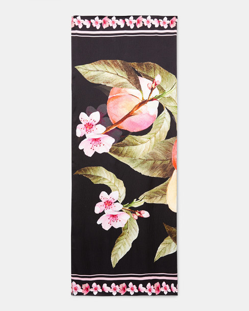 Ted Baker scarf black silk peach
