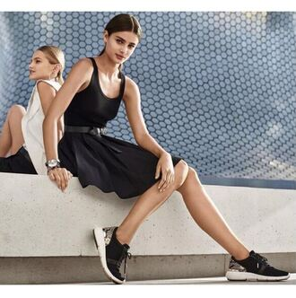 dress sneakers taylor hill black dress skirt top tank top watch instagram shoes