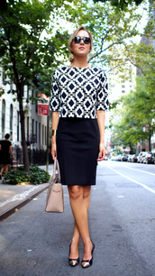 the classy cubicle,t-shirt,dress,coat,shoes,jewels,bag,sunglasses,blouse,office outfits,skirt,black skirt,pencil skirt,printed top,nude bag,handbag,aztec top,black sunglasses,pointed toe pumps,pumps