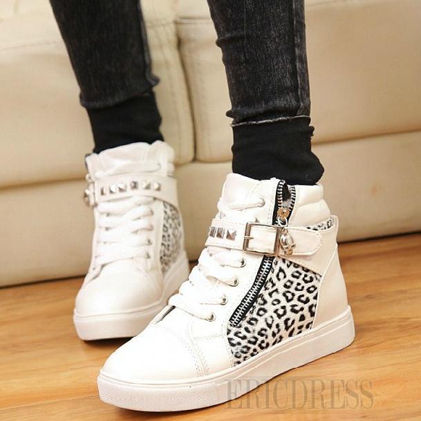 $ 40.99 Comfortable Split Joint Leopard Women Shoes with Zipper
