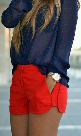 shorts red shorts stretch bright red pocket