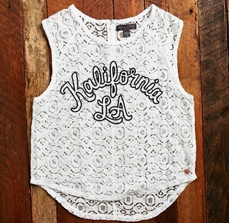 kalifornia la shirt t-shirt white white crop tops white shirt top blouse lace up california summer outfits style summer shoes los angeles los angeles top