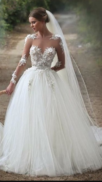dress white floral flowers wedding dress wedding bride dresses bridal gown gown sheer tulle skirt