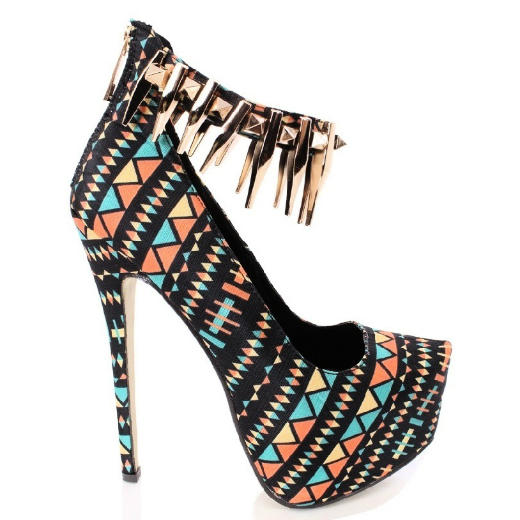 2 multicolor gold spikes tribal stiletto heels