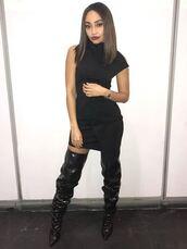 dress,little black dress,mini dress,leigh-anne pinnock,instagram,boots,shoes,over the knee boots,fall outfits,black dress,little mix