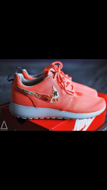 reputable site c321c c3a7d shoes nike pink coral nike bright sneakers nike roshe run nike roshe run  pink flowers floral
