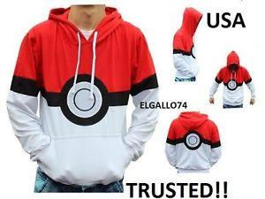 Pokemon pikachu pokeball hoodie sweater sweatshirt jacket xl xlarge extra large