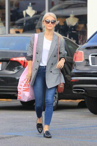 jacket blazer fall outfits streetstyle jeans denim julianne hough flats top