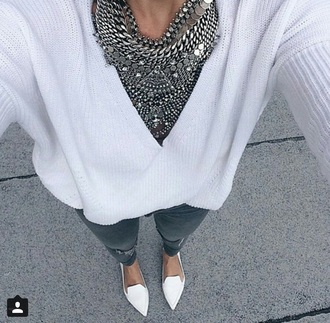 jewels collar necklace sweater white silver cardigan shoes