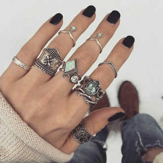 jewels silver ring knuckle ring boho jewelry
