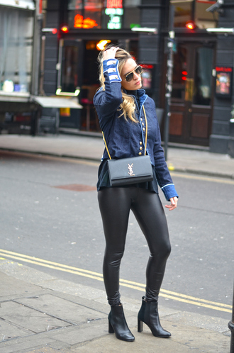 camila carril blogger leather leggings ysl bag blue jacket