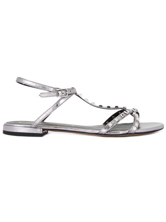 studded metal women sandals studded sandals leather grey metallic shoes