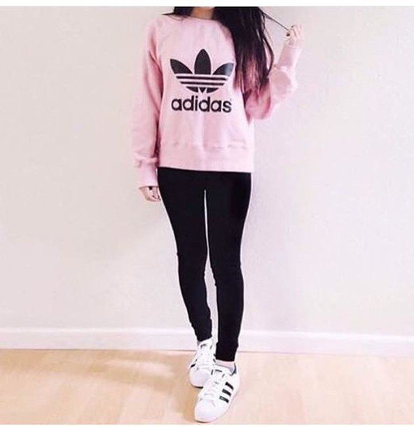 Sweater adidas cute outfit pink tumblr outfit shoes adidas sweater hoodie pink sweater ...