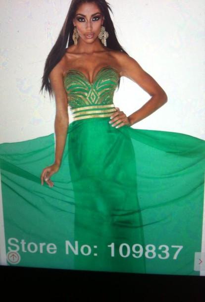 dress green dress gold prom dress